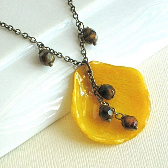 Reserved for Lydia - Real Rose Petal Necklace - Yellow, Tortoise Shell, Brass, Natural