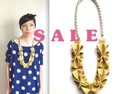 SALE - LAST ONE - Origami Hana Rope Necklace -  Yellow