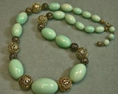 Vintage Retro Lucite Bead Necklace Mint Green Ovals ,Vintage Gold Filigree Beads - GIFT WRAPPED