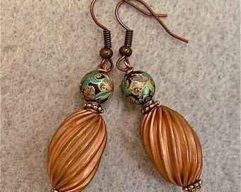 Vintage Japanese Black Tensha Bead Dangle Drop Earrings,  Copper Oval Twist Beads, Turquoise Flower Beads