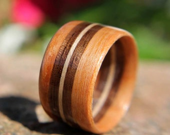 Bentwood Ring Cherry with Walnut and Maple Inlays