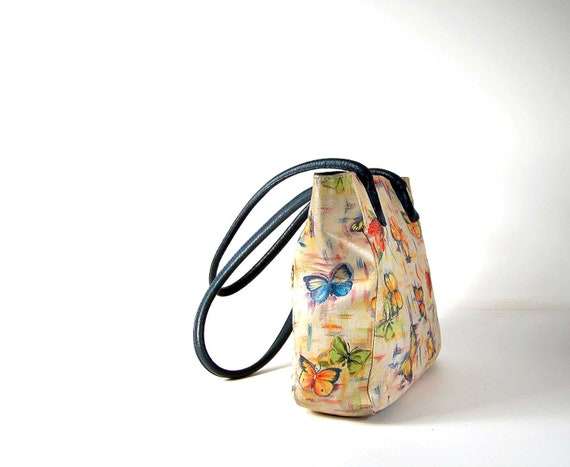 Hand painted floral butterfly leather tote / Wearable art