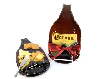Melted Bottle Cheese Plate Large Brown Corona, Great Gift Idea for Hostess, Gourmet, or Beer Lover