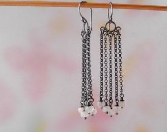 Moonstone Earrings, Sterling Silver, Dangle Earrings, Long Chain Earring, Off White Stone, Rustic Cascade Whimsical Handmade Jewelry - Uma