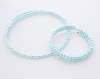 Girls Necklace and Bracelet Wedding Set, Light Blue Pearl