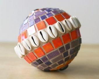 Orange Moon - Mosaic garden globe with cowrie shells