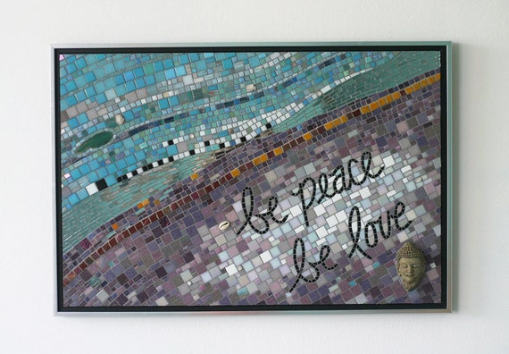 The Spirit of the Buddha - Large original work of art, mosaic art, buddha wall art, buddha art, mosaic, glass art, mixed media, peace, love