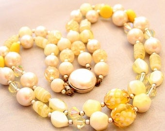 Yellow Glass Bead Necklace Multi Strand Vintage Art Glass Pearls Crystals Lampwork Japan