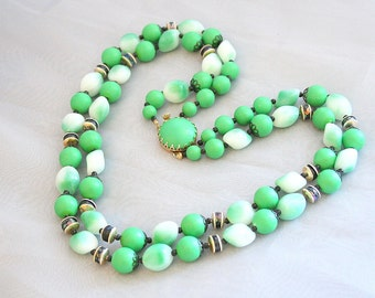 Green Bead Multi Strand Necklace Vintage Beaded Filigree AB Rondelles Signed Hong Kong