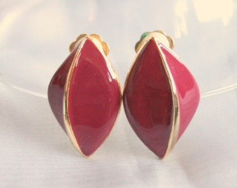 Maroon Red Enamel Earrings 80's Clip On Maroon Pinched Drop Shape