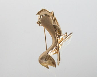 Hipster Fish Brooch Vintage Fish Figural Pin Sunglass Mohawk Fin Lounge Chair Signed AJC
