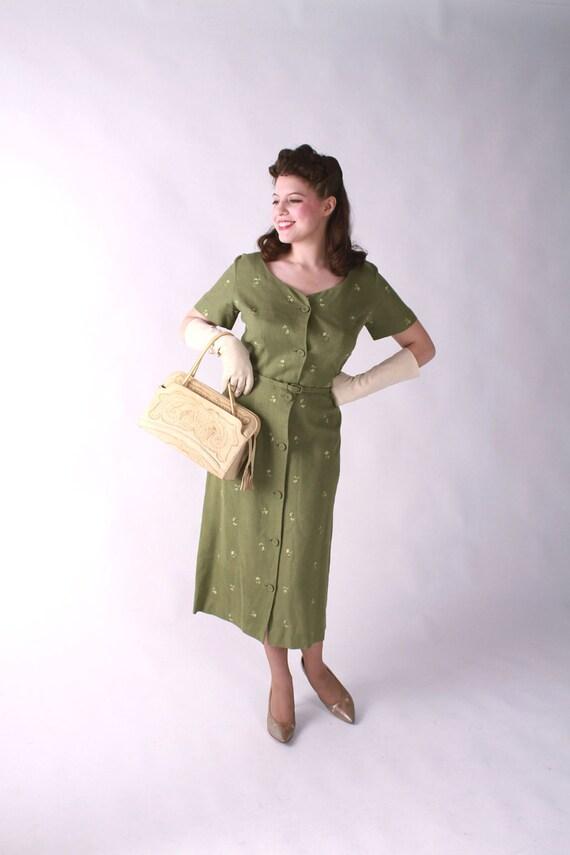 Vintage 1950s Dress // Moss Green Princess Seamed Summer Linen Wiggle Dress