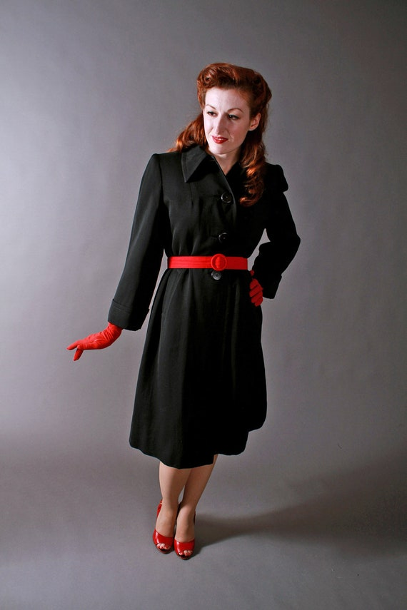 Vintage 1940s Womens Black Gabardine Coat by Botany