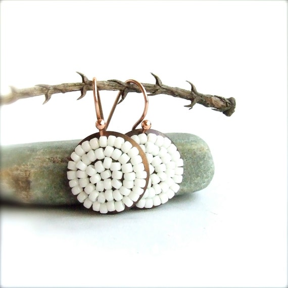 White Round Beadwork Dangle Earrings Beaded Drop Bridal Beadwoven Pod Jewellery