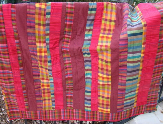 Plaid Baby Quilt: Kaffe Fassett Holiday Baby Madras Plaid Quilt In A By