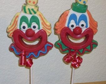 6 Large Chocolate Clown lollipops