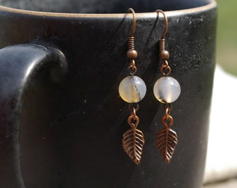 Antique Copper Agate and Feather Earrings