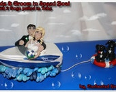 Wedding Cake Topper, Boat and tube with pets