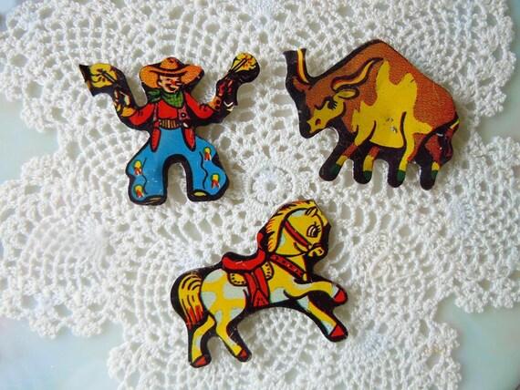 Vintage 1950s Toy Trinkets Miniature Figures Cowboy Bull Horse