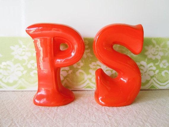 Vintage 1960s Salt and Pepper Shakers Retro Orange Letters P S Initials