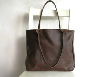 Brown Genuine  Leather Tote Shoulder Bag