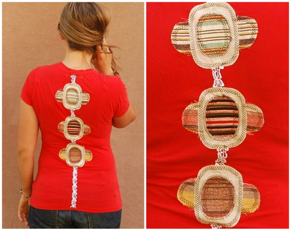 Eco Friendly hippie shirt - spring women clothing upcycled bohemian boho applique top red tank - medium