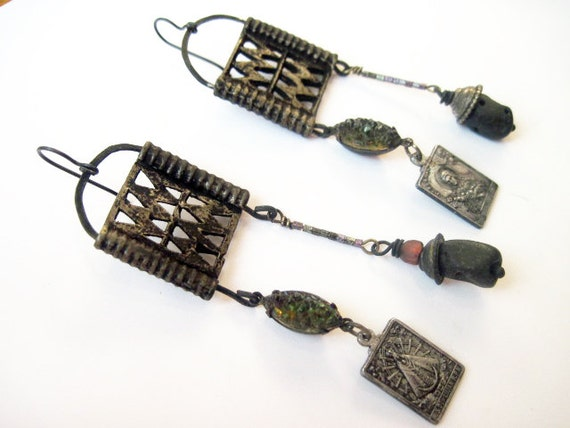 The All-Dread. Dark Back Tribal Gypsy Earrings with Religious Medals.