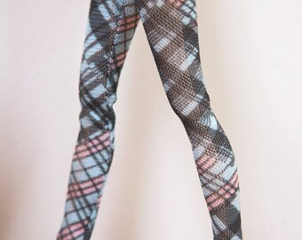Jiajiadoll- blue colored checked legging fits Momoko or Blythe or Misaki