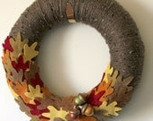 Oak Leaf Wreath, Autumn Leaves and Acorns Wreath, Fall Wreath, 12 inch Size