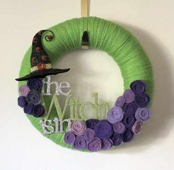 Witch Wreath, Halloween Wreath, Green and Purple Wreath, 12 inch Size