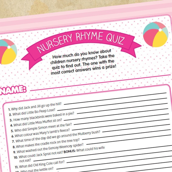 similar to baby shower game nursery rhyme quiz for girls on etsy
