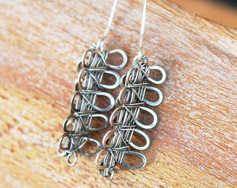 3D Sterling Silver Curves Woven Earrings