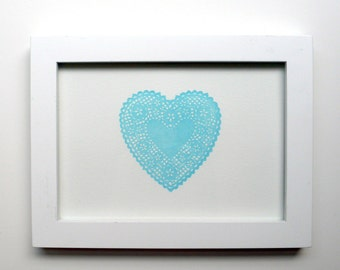 Lace Heart Letterpress Print Blue 5x7