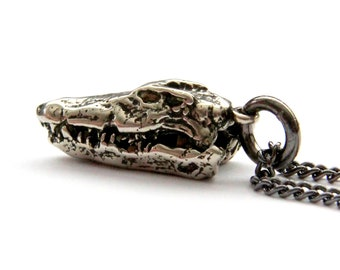 Crocodile Skull Necklace Silver Crocodile Skull Pendant Necklace Alligator Skull jewelry 096