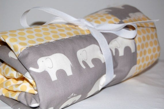 ORGANIC modern patchwork baby blanket- elephants and dots-ready to ship