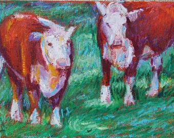 Cow Painting, Folded Notecard, Whatcha Looking At, Blank inside