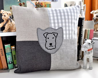 Terrier Print Patchwork Cushion - Grey colourway