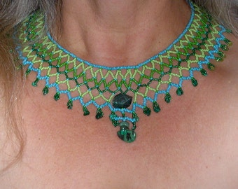 Beadwork with Labradorite Focal Peridot Malacite and Turquoise Stones in the African or Mohave Native Style with Antique Costume Fastener