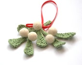 Mistletoe ornament or brooch Holiday traditional Christmas decor English Winter Weddings decoration green white red mint wool gift  home