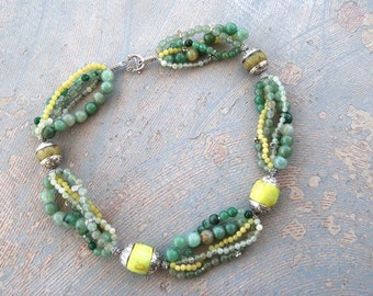 Ethnic Necklace - Green Jade Multistrand Ethnic Necklace - Dreams of Tibet Collection