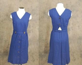 vintage 60s Wiggle Dress -  1960s Cut Out Back Dress - Designer Navy Blue Linen Dress Sz M