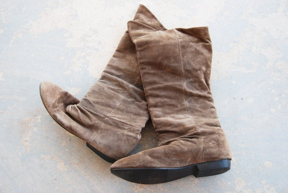 vintage 80s Suede Boots - Cuffed Boots - Brown Pirate Boots  Sz 11