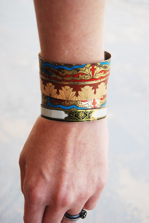Bangle Bracelet Set - Gypsy Bracelets - Bohemian Scrolled Recycled Tin - Views from a Tin Collection