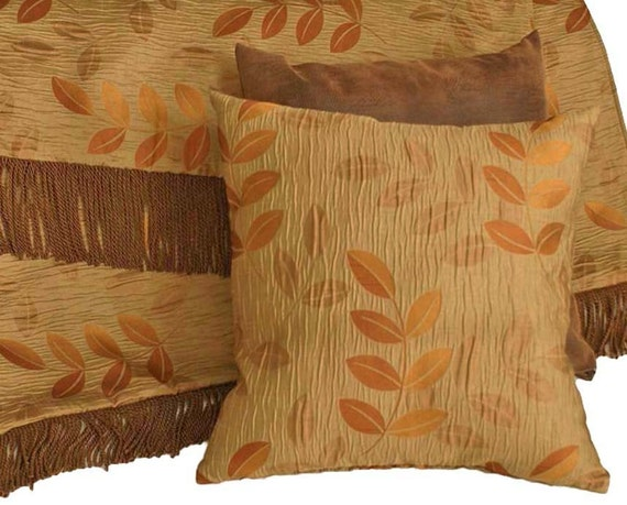 Copper Leaves Pillow, Textured Throw Pillow, Iridescent, Brown Green, Orange, Rust, Contemporary Pillow Cover, 18x18
