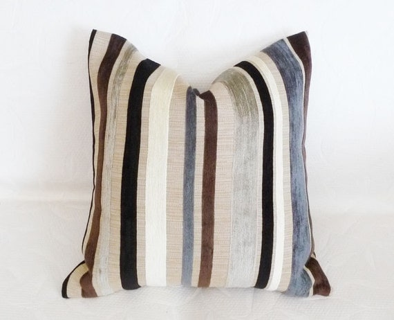 Contemporary Striped Pillow, CUSTOM FOR PP, Black Grey Gray Cream Brown, Stripes Couch Cushion, Natural Home Decor 18x18