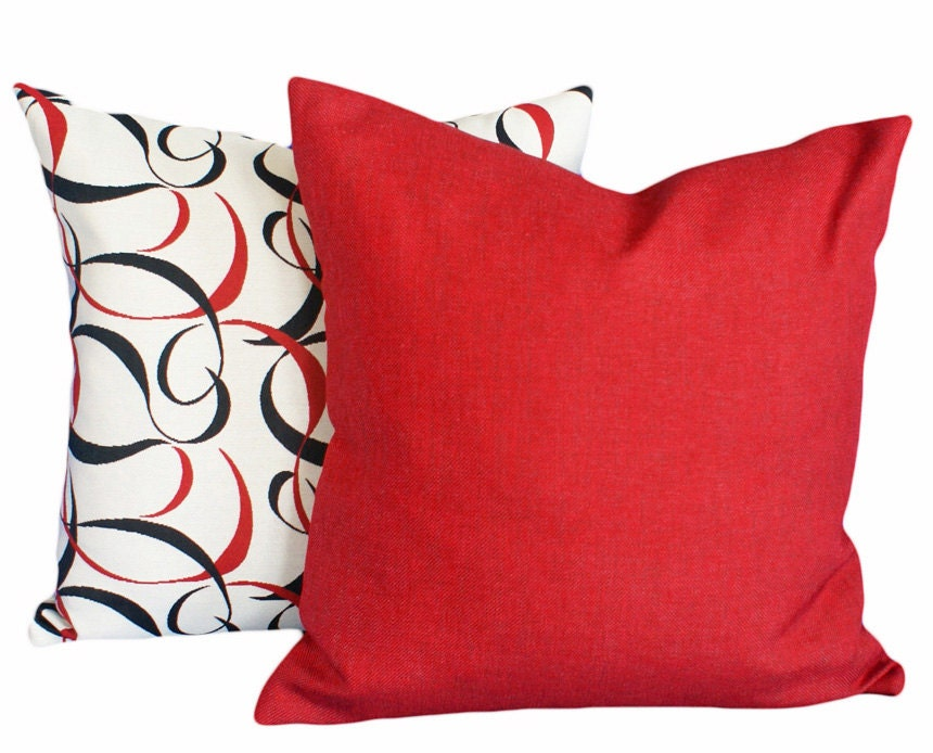 Throw Pillow Red : Solid Red Pillows Decorative Throw Pillows by PillowThrowDecor