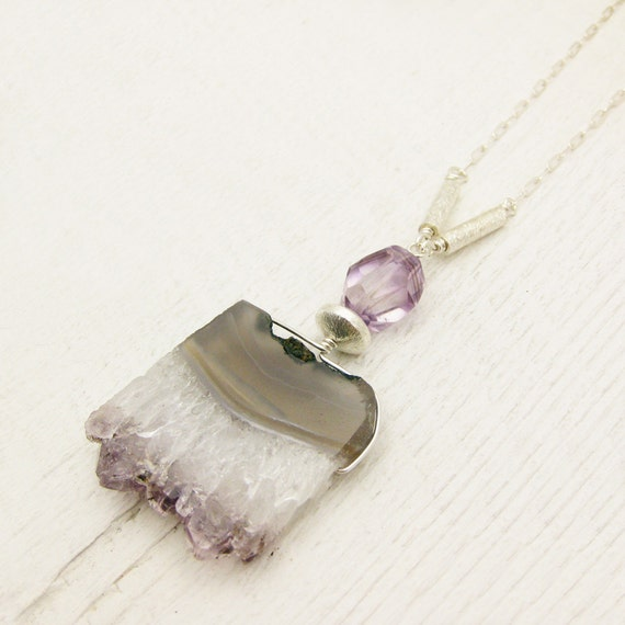 Amethyst Druzy Sterling Silver Statement Necklace / Brazilian natural stone purple lavender white crystal rock / long bohemian birthstone