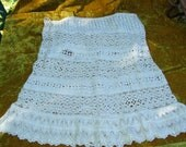 Antique Turn of Century Victorian Edwardian Art Nouveau Early 1900's Ecru Eyelet and Lace Skirt