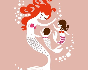 """11X14"""" mermaid mother & two baby girls/daughters giclee print on fine art paper. mauve pink, dusty lavender, pink, red, brunette, redhead."""