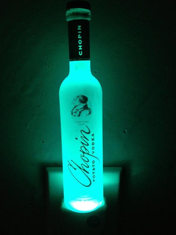 Chopin Potato Vodka mini-liquor bottle Green LED night light.